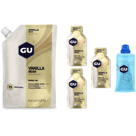 GU Energy Gel - Nutrition sport - vanille 480 g + 3 gels x 32 g + flasque beige